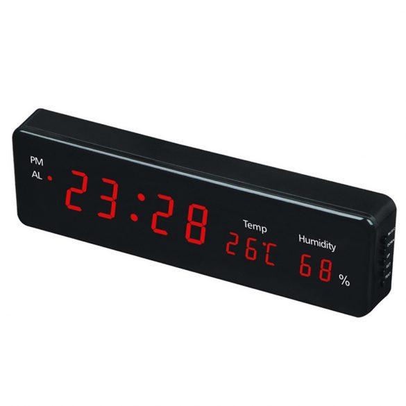 """Hálózati asztali óra, fekete, piros LED 1,2"""""""