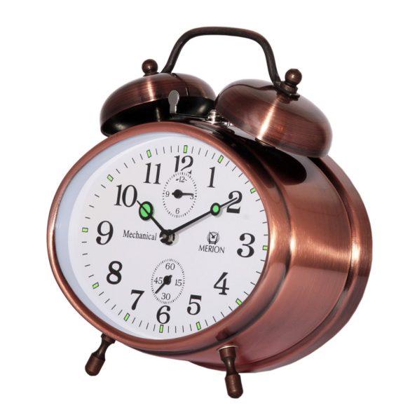 Merion fém ébresztőóra, mech., bronz színű