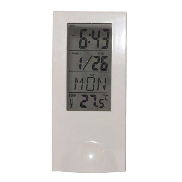 LCD ébresztőóra, fehér színű