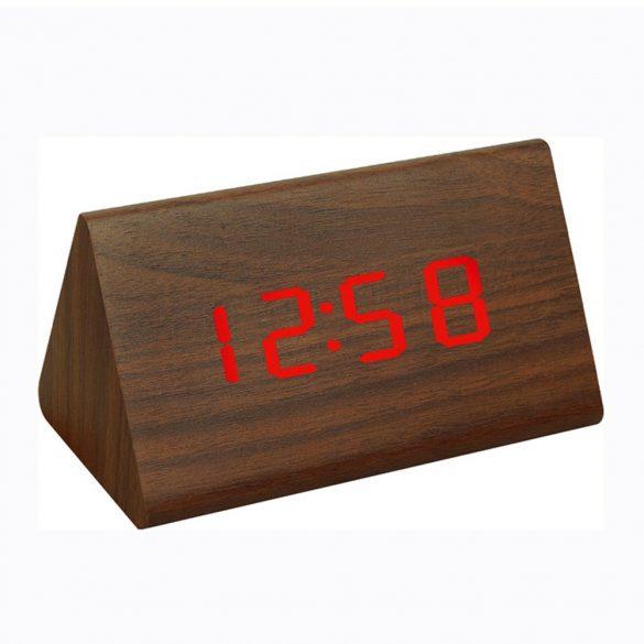 LED asztali óra, barna színű fa/piros led