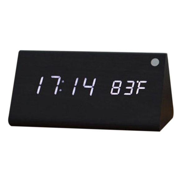LED asztali óra, fekete színű fa/fehér led