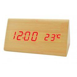 LED asztali óra, natúr színű fa/piros led