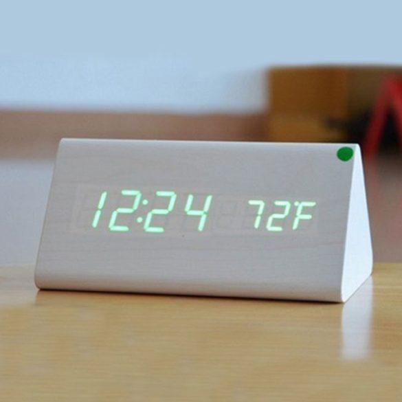 LED asztali óra,fehér színű fa/zöld led