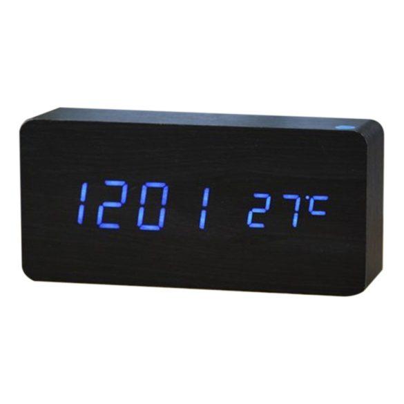 LED asztali óra, fekete színű fa/kék led