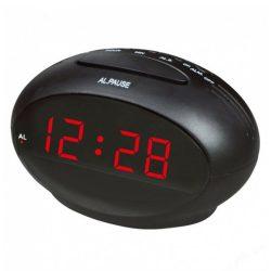 """Hálózati asztali óra, fekete, piros LED 0.9"""""""