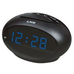 """Hálózati asztali óra, fekete, kék LED 0.9"""""""