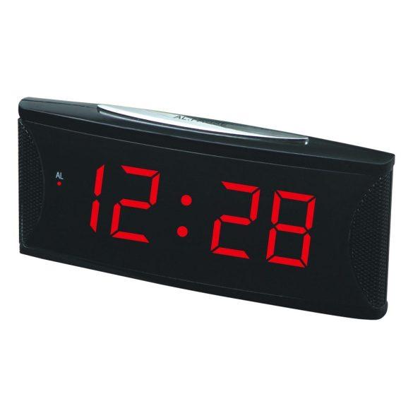 """Hálózati asztali óra, fekete, piros LED 1.8"""""""