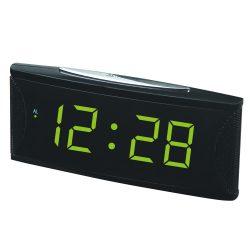 """Hálózati asztali óra, fekete, világoszöld LED 1.8"""""""