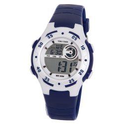 Tiko Time női műanyag karóra, quartz, kék és fehér színű tok és csat, LCD számlap