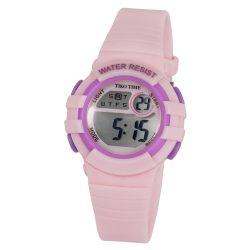 Tiko Time női műanyag karóra, quartz, rózsaszín és lila színű tok és csat, LCD számlap