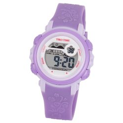 Tiko Time női műanyag karóra, quartz, lila színű tok és csat, LCD számlap