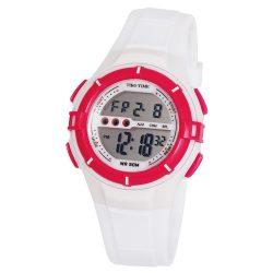 Tiko Time női műanyag karóra, quartz, fehér és ciklámen színű tok és csat, LCD számlap