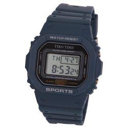 Tiko Time férfi műanyag karóra, quartz, kék színű tok és csat, LCD számlap
