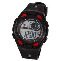 Tiko Time férfi műanyag karóra, quartz, fekete és piros színű tok és csat, LCD számlap