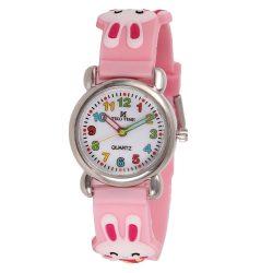 Tiko Time karóra gyerekeknek, quartz, 3D figurás rózsaszín alapon nyuszis szíj