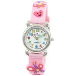 Tiko Time karóra gyerekeknek, quartz, 3D figurás rózsaszín alapon lepkés szíj