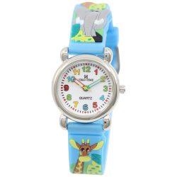 Tiko Time karóra gyerekeknek, quartz, 3D figurás kék alapon állatos szíj