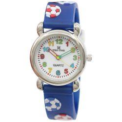 Tiko Time karóra gyerekeknek, quartz, 3D figurás kék alapon focilabdás szíj