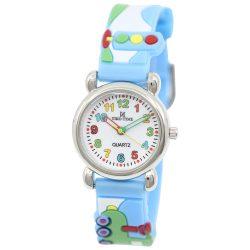 Tiko Time karóra gyerekeknek, quartz, 3D figurás kék alapon vonatos szíj