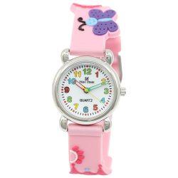 Tiko Time karóra gyerekeknek, quartz, 3D figurás rózsaszín alapon kastélyos és lepkés szíj