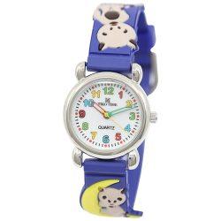 Tiko Time karóra gyerekeknek, quartz, 3D figurás kék alapon cicás szíj