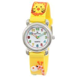 Tiko Time karóra gyerekeknek, quartz, 3D figurás sárga alapon állatos szíj