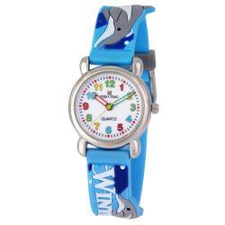 Tiko Time karóra gyerekeknek, quartz, 3D figurás kék alapon delfines szíj
