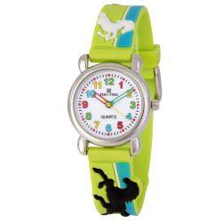 Tiko Time karóra gyerekeknek, quartz, 3D figurás kék és zöld alapon lovacskás szíj