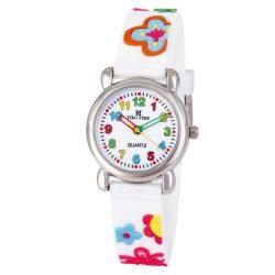 Tiko Time karóra gyerekeknek, quartz, 3D figurás fehér alapon virágos szíj