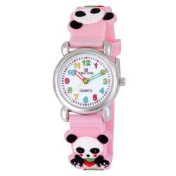 Tiko Time karóra gyerekeknek, quartz, 3D figurás rózsaszín alapon pandamacis szíj