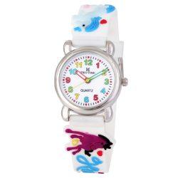 Tiko Time karóra gyerekeknek, quartz, 3D figurás fehér alapon lovacskás szíj
