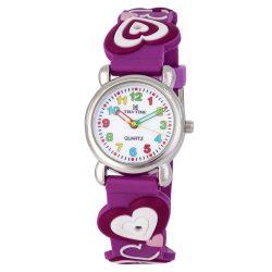 Tiko Time karóra gyerekeknek, quartz, 3D figurás lila alapon szívecskés szíj
