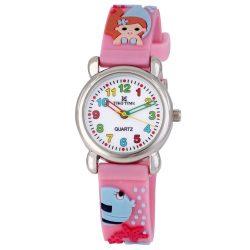 Tiko Time karóra gyerekeknek, quartz, 3D figurás rózsaszín alapon sellőlányos szíj