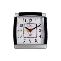 Tiko Time ébresztőóra, sweep, analóg, ezüst tok, fehér számlap, világítás, visszaébresztés