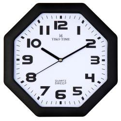 Tiko Time falióra, quartz, fekete színű tok, fehér számlap, sweep
