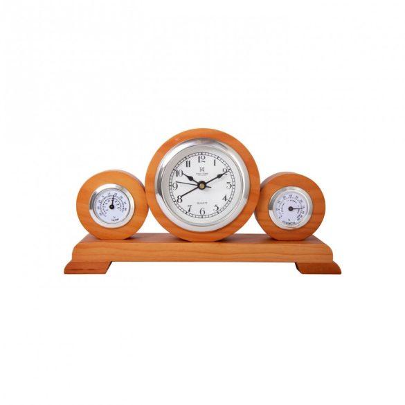 Tiko Time fa asztali óra, quartz, barna színű, fehér számlap (dió)