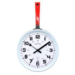 Tiko Time falióra, quartz, piros színű tok, fehér számlap (serpenyő forma)