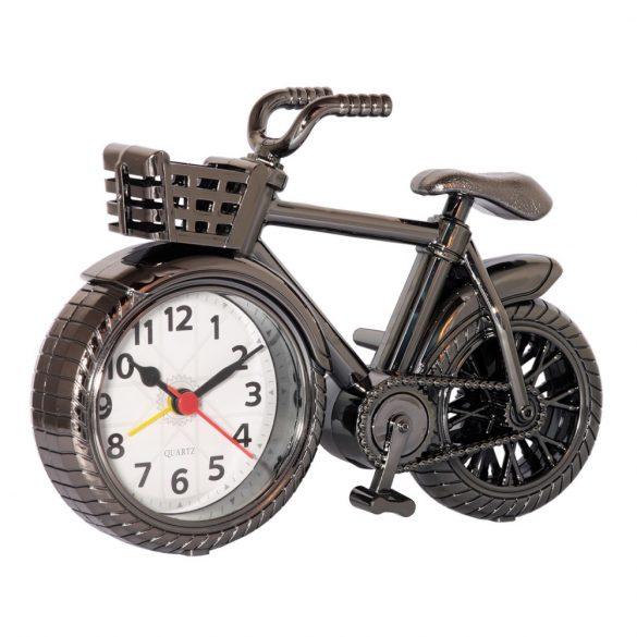 Ébresztő óra, quartz, bicikli forma, fémes szürke szín