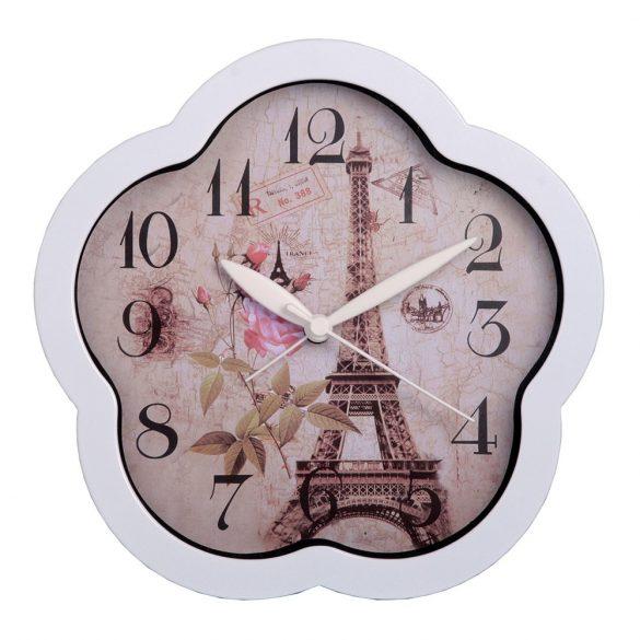 Ébresztő óra, quartz, virág forma, fehér színű