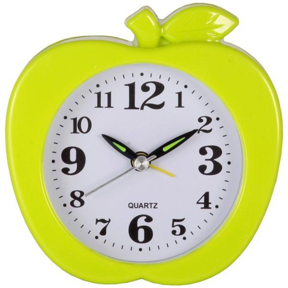 Ébresztő óra, quartz, alma forma, zöld színű