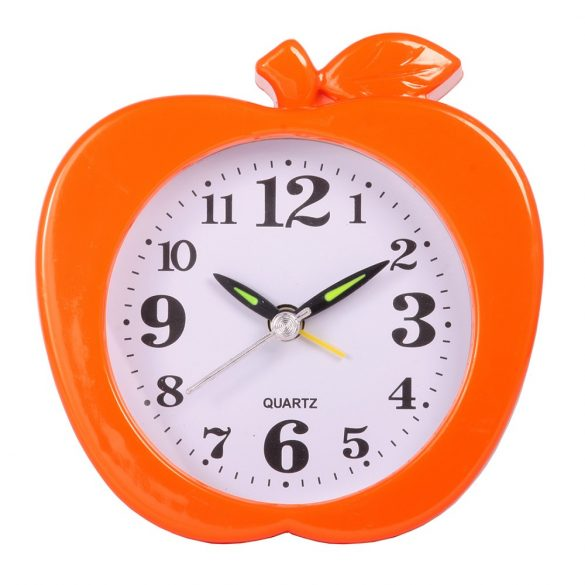 Ébresztő óra, quartz, alma forma, narancs színű