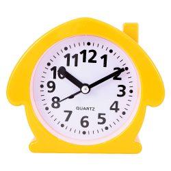Ébresztő óra, quartz, házikó forma, narancssárga színű