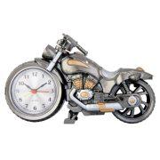 Ébresztő óra, quartz, motor forma, fémes szürke és arany szín