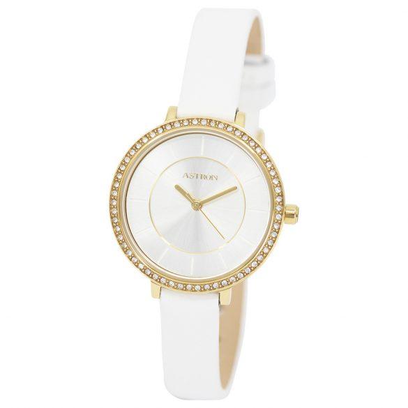 ASTRON 8008-0 divatos női karóra, arany színű nemesacél tok, fehér bőrszíj, ezüst színű számlap, keményített ásványüveg, quartz szerkezet, cseppmentes vízállóság