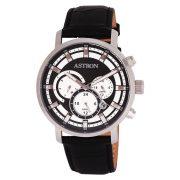 ASTRON 8010-1 analóg divat|férfi|sportos karóra, ezüst színű nemesacél tok, fekete bőrszíj (valódi) szíj/csat, ezüst színű|fekete számlap, keményített ásványüveg, quartz szerkezet, 50 m (5 ATM) vízállóság