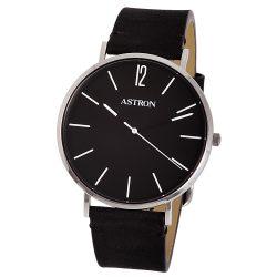 ASTRON 8014-1 elegáns férfi karóra, ezüst színű nemesacél tok, fekete bőrszíj, fekete számlap, keményített ásványüveg, quartz szerkezet, cseppmentes vízállóság
