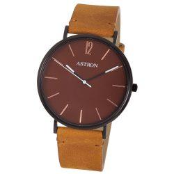 ASTRON 8014-5 elegáns férfi karóra, fekete színű nemesacél tok, barna bőrszíj, barna számlap, keményített ásványüveg, quartz szerkezet, cseppmentes vízállóság