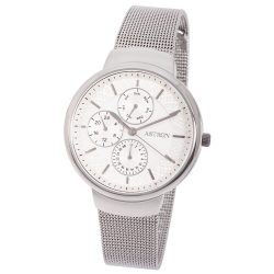 ASTRON 8017-8 divatos női karóra, ezüst színű nemesacél tok, ezüst színű nemesacél csat, fehér számlap, keményített ásványüveg, quartz szerkezet, cseppmentes vízállóság