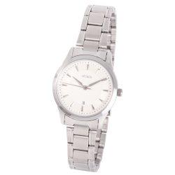 ASTRON 8018-7 elegáns női karóra, ezüst színű nemesacél tok, ezüst színű nemesacél csat, fehér számlap, keményített ásványüveg, quartz szerkezet, cseppmentes vízállóság