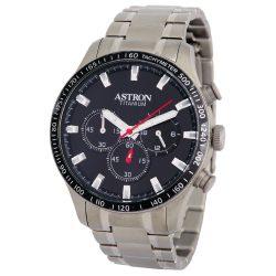 ASTRON 8031-1 sportos férfi karóra, ezüst színű titánium tok, titánium csat, fekete számlap, keményített ásványüveg, chronograph quartz szerkezet, 50 m (5 ATM) vízállóság